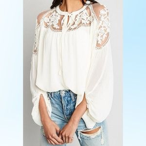 Lace Chiffon Peasant Tunic by Hayden